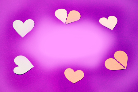 Concept - the circle of love, on violet background, copy space