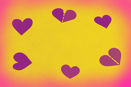 Hearts as a round frame - yellow copy space, background Stock Photo