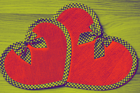 Hearts with decorative ribbons - red copy space