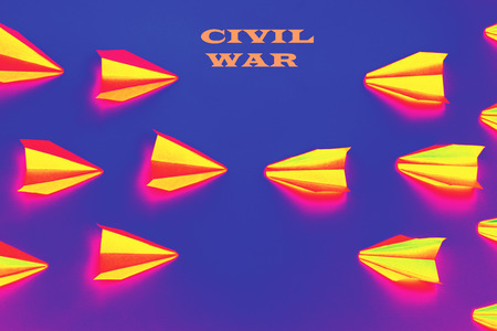 Concept of civil war - fire airplanes