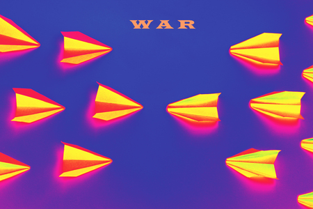 Concept of war, abstract, paper planes
