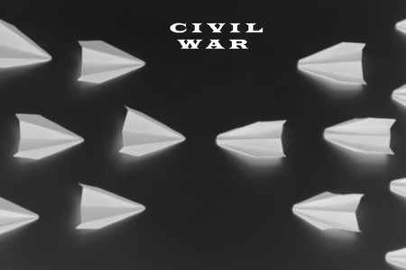 business team: Concept of civil war - black background