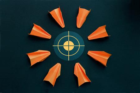 Business concept - target,attack, orange planes Stock Photo
