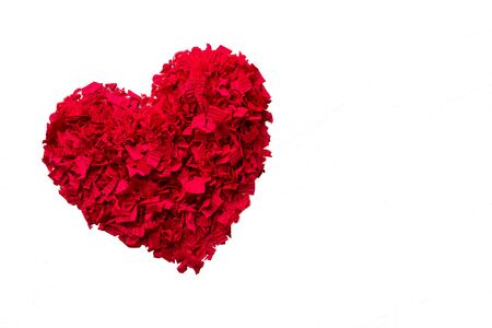 Heart of red confetti - Transparent background and copy space Stock Photo