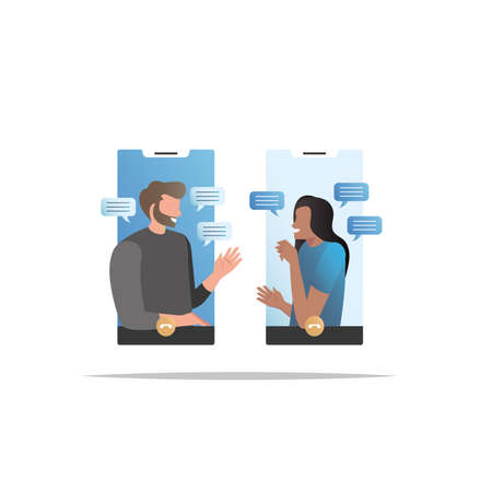 People communicate on smartphones via video communication, on social networks, in messages, SMS, and get acquainted on Internet. Friends phoned, talking in messenger. Online correspondence. Vector Illustratie