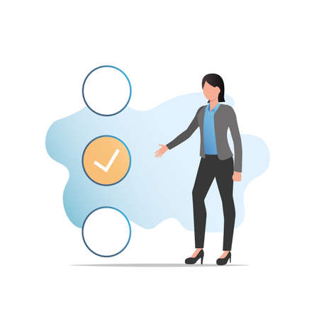 Vector woman in business suit chooses, puts tick, mark in choice, list, shows with her hand to an answer, an opinion, passes test, questionnaire, votes. Vetores