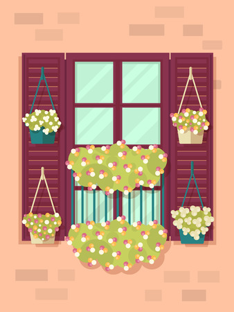 balcony: Illustration of Spring Background with Window and Flowers. Flat Design Style.