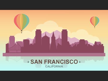 熱い空気と San サンフランシスコのスカイラインを風船します。フラットなデザイン スタイル。  イラスト・ベクター素材
