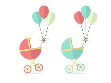 illsutration: Baby Stroller for Boy and a Girl with Balloons. Flat Design Style.