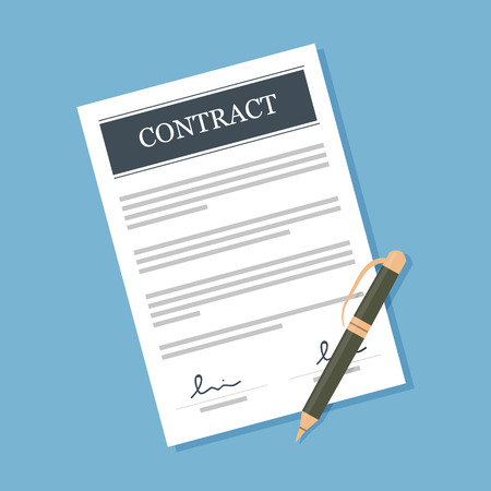 signing papers: Signed contract with pen