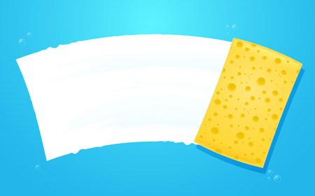 wiping: Yellow sponge wiping glass. Layered vector EPS10 file.