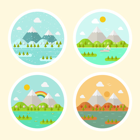 spring summer: Illustration of a Circle Landscape Icons. Four Different Seasons-Spring, Summer, Autumn and Winter. Flat Design Style. Illustration
