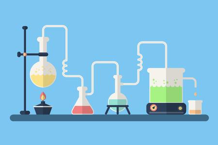 Fondo de la ciencia. Laboratorio de Química con el equipo.