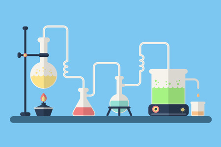 chemistry formula: Science Background. Chemical Laboratory with Equipment.