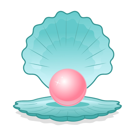 pink pearl: Illustration of blue shell with a pink pearl on a white background Illustration