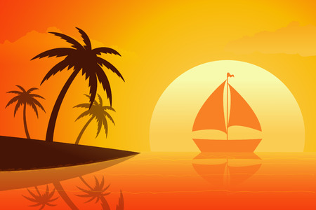 beach sunset: Tropical beach in sunset. illustration. Illustration