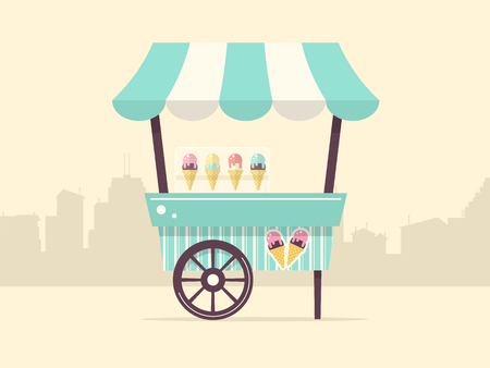 Vector Illustration of ice Cream Stand with City Skyline. Flat Design Style. Vetores