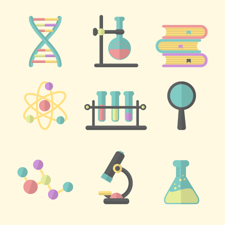 Science Icon Set. Flat Design Style.