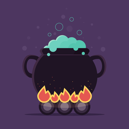 Witch Cauldron with Blue Magical Potion. Flat Design Style. Stock Illustratie