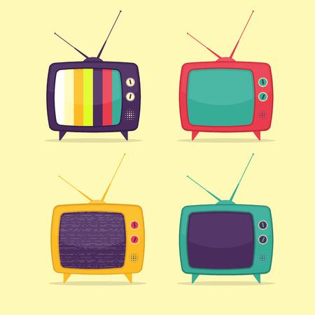 retro tv: Colorful Retro TV Set. Flat Design Style.