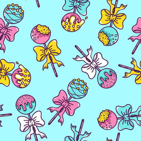 Seamless Pattern of Colorful Cake Pops on Blue Background.