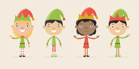 chinese american ethnicity: Cute Little Children Dressed as Santa Elves. Flat Design Style.