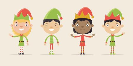 Leuk Weinig Kinderen verkleed als kerstman Elves. Flat Design Style. Stock Illustratie