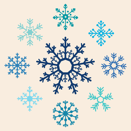 Reeks Blauwe Sneeuwvlokken. Flat Design Style. Stock Illustratie