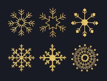 Set Sneeuwvlokken Met Gouden Glanzende Textuur. Stock Illustratie