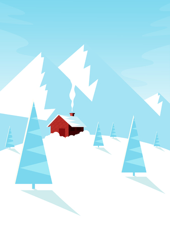 Winter Landscape with Mountains, Cottage and Pine Tree. Flat Design Style. Stock Illustratie