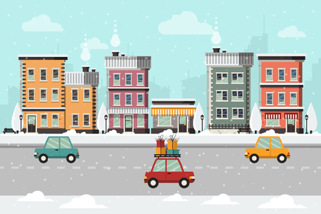 Winter Urban Landscape with Buildings, Street and Cars with Presents. Flat Design Style. Stock Illustratie
