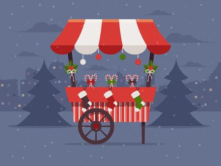 Kerstmarkt . Flat Design Style. Stock Illustratie