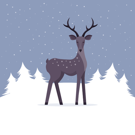 Winter Christmas Landscape with Deer. Flat Design Style.