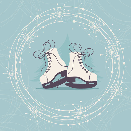 Winter Hand Drawn Card with Ice Skates and Snowflakes. Stock Illustratie