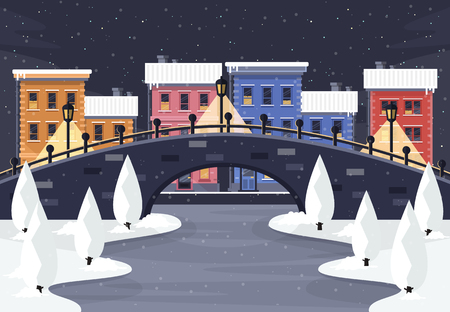Winter City Landscape at Night. Flat Design Style.