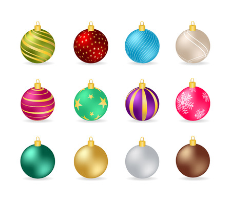 Set od Colorful Christmas Baubles