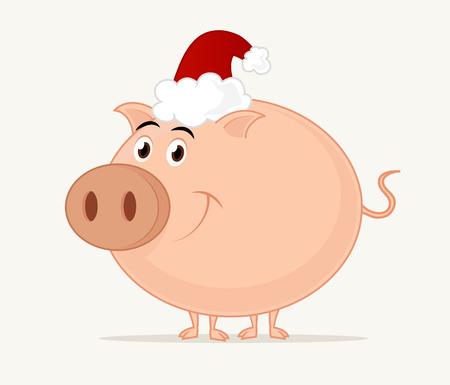 Cartoon Kerstmis Piggy Lachend. Stock Illustratie