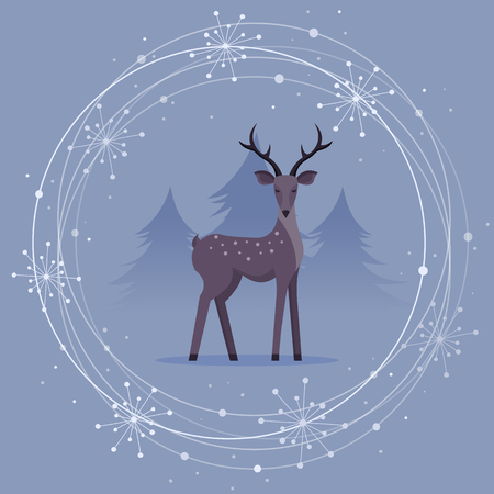 Christmas Card with Deer and Snowflakes. Flat Design Style. Stock Illustratie