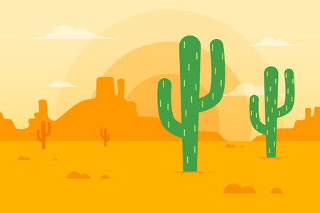 Desert Landscape with Cactus and Mountains in the Background. Flat Design Style. Stock Illustratie