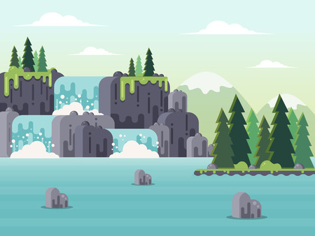 Nature Landscape - Waterfalls, River and Mountains. Flat Design Style. Stock Illustratie