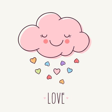 Hand Getrokken Roze Liefde Cloud Stockfoto - 71619940