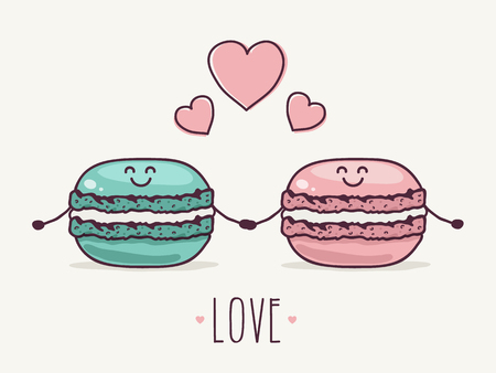 Two Cute Macaron Characters in Love. Hand Drawn Vector Illustration.