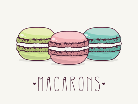 Hand Drawn French Macarons.