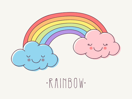 Hand Drawn Rainbow with Cute Pink and Blue Clouds. Stock Illustratie