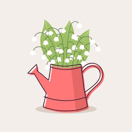 Lily of the Valley in Red Watering Can, Vector Illustration. Stock Illustratie