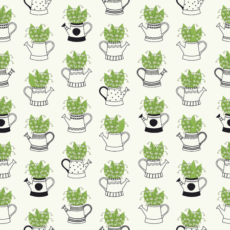 Hand Drawn Seamless Pattern with Black and White Watering Cans and Green Flowers.