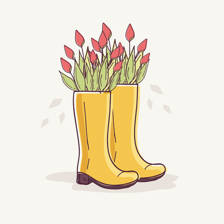 Rubber Boots with Red Tulips Stock Illustratie