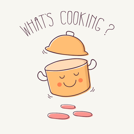 Hand Drawn Cartoon Smiling Cooking Pot Stock Illustratie