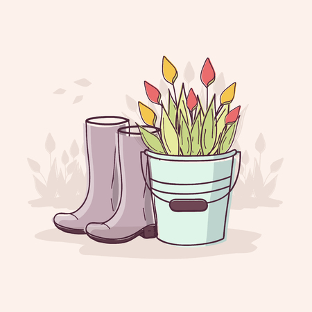 Gardening Time. Bucket of Tulips and Rubber Boots in Garden.