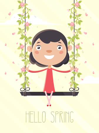 Girl Sitting on a Swing on a Spring Day. Flat Design Style. Stock Illustratie